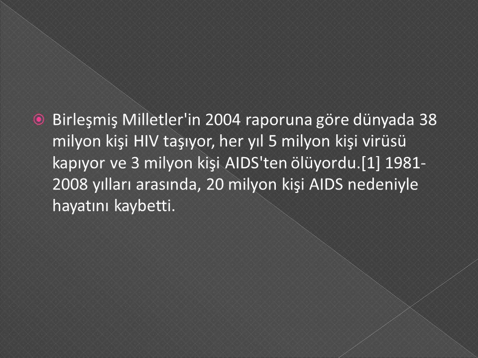 Birleşmiş Milletler in 2004 raporuna göre dünyada 38 milyon kişi HIV taşıyor, her yıl 5 milyon kişi virüsü kapıyor ve 3 milyon kişi AIDS ten ölüyordu.[1] 1981-2008 yılları arasında, 20 milyon kişi AIDS nedeniyle hayatını kaybetti.